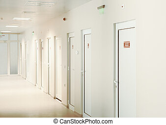 Modern European Hospital. Healthcare Facility. Empty Hospital Corridor.