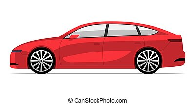 Modern EV car in flat style. Side view of electric vehicle isolated on white background
