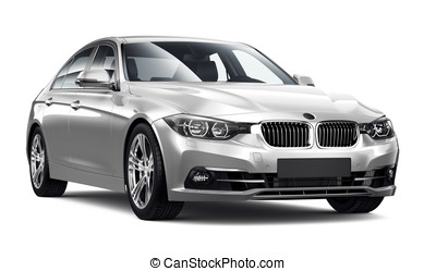 Modern executive car on white