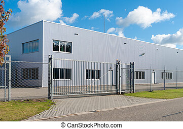 industrial building - modern exterior of an industrial ...