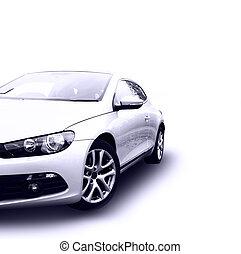 modern, ezüst, autó