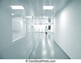 modern, fényes, gyár, belső, noha, munka emberek, szándék