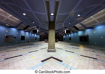 modern, föld alatti, szállítás, folyosó, helyett, egy,...