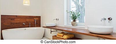 modern, fürdőszoba, alatt, afrikai, mód