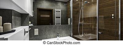 modern, fürdőszoba, belső