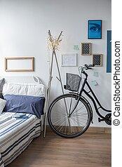 modern, fahrrad, schalfzimmer