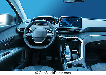 Modern family car cabin interior design with led displays