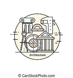 modern, farbe, dünne linie, kunst, design, architektur, und, construction.