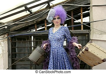 modern fashion vanguard woman with baggage - modern fashion...