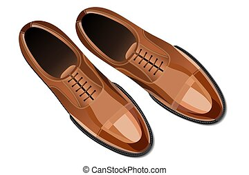Modern fashionable classic brown men shoes top view vector...