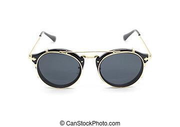 Modern fashionable sunglasses isolated on white background, ...