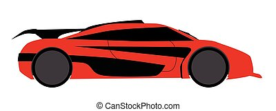 Modern Fast Car - A fast car in red and isolated on a white...