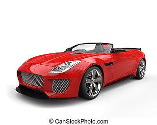 Modern fast raging red convertible super sports car