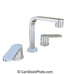 Modern faucet with chrome or stainless steel finishing, 3d illustration, isolated against a white background. Kitchen fixtures.