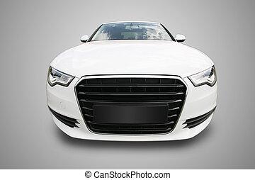 modern, fehér, autó