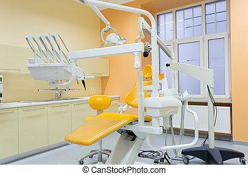 modern, felszerelt, fogászati hivatal