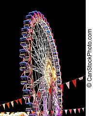Modern ferris wheel in the night