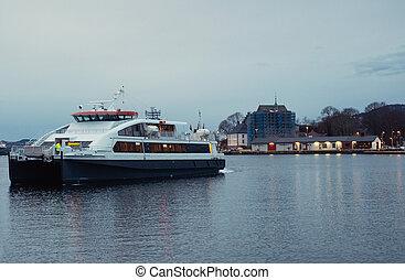 Modern ferry in Bergen, Norway