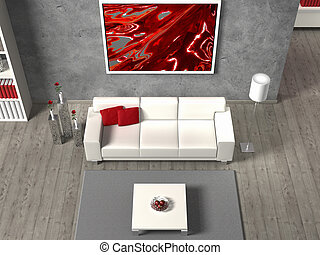 modern fictitious living room in aerial view, the image in the frame is created by me, no rights are infringed