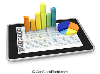 one tablet pc with a buttons interface, that shows a spreadsheet. there are two charts over the display (3d render)