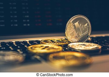 Modern Financial Blockchain Industry. Silver Litecoin Crypto Coin Closeup Conceptual Photo. Cryptocurrency Investing.
