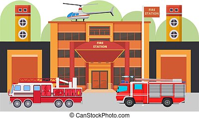Modern fire station building facade and fire cars vector illustration. Fire vehicles with equipment ready to emergency, watchtowers, helicopter, garage.