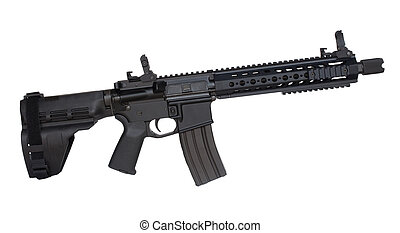 Modern firearm - AR-15 handgun that is isolated on a white...