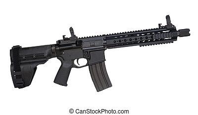 Modern firearm - AR-15 handgun that is isolated on a white...