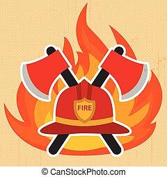 Modern firefighter sign, fire intervention vector