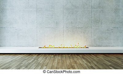 Modern fireplace design idea with concrete wall and wood parquet veneer flooring 3D rendering