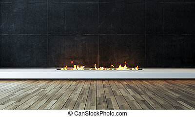 Modern fireplace design idea with dark concrete wall and wood parquet veneer flooring 3D rendering