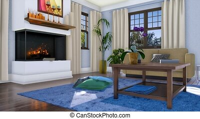 Cozy bright living room interior with modern minimalist fireplace, simple wooden coffee table and sofa at sunny day. With no people realistic 3D animation rendered in 4K
