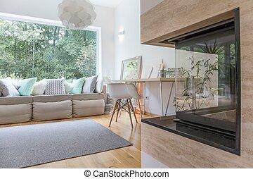 Modern fireplace in room
