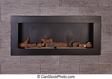 Modern fireplace. - Modern indoor fireplace on biofuel.