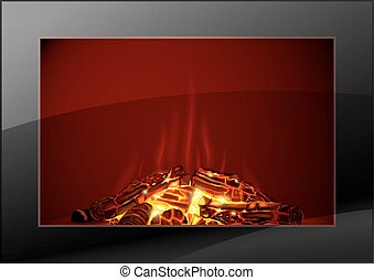 Modern fireplace with fire