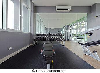 Modern Fitness Center interior design, luxury Gym