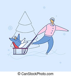 Modern flat cartoon characters family spending happy time together sledging, vector hand drawn style. Flat small people-smiling dad carry laughing cartoon boy on sleigh, playing winter sport outdoors