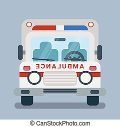 Modern flat cartoon illustration of front side of stylized ambulance car.