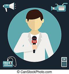 Modern flat concept of journalism, press , news reporter - ...