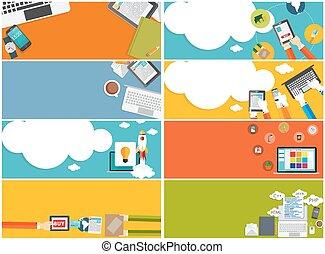 Modern Flat Design Banner Set for your Business Vector Illustrat