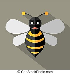 Modern Flat Design Bee Icon Vector Illustration
