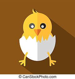 Modern Flat Design Chick Icon Vector Illustration
