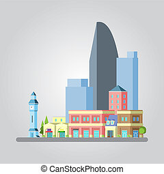 Modern flat design cityscape illustration
