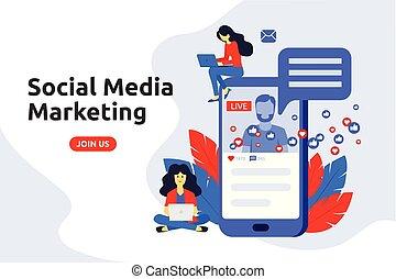 Modern flat design concept for social media marketing. Male broadcast live video on the internet.