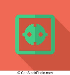 Modern flat design concept icon electrical outlet. Vector illust