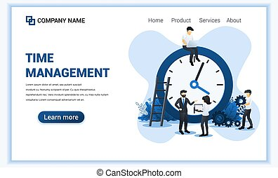 Modern Flat design concept of Business management with Characters planning a schedule. Time management, Save time. Can use for banner, infographic, landing page, web template. Flat vector illustration