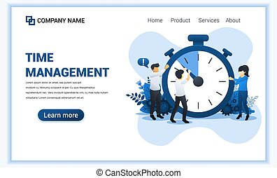 Modern Flat design concept of Time management with Characters. A man trying to stop time on giant clock. Can use for web banner, infographics, landing page, web template. Flat vector illustration