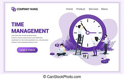 Modern Flat design concept of Time management with Characters planning a schedule. Can use for web banner, infographics, landing page, web template. Flat vector illustration