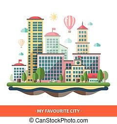 Modern flat design conceptual city illustration