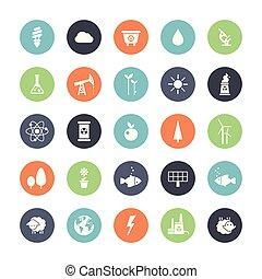 Modern flat design conceptual ecological icons